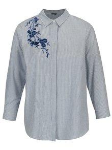 Camasa albastra in dungi cu broderie florala M&Co