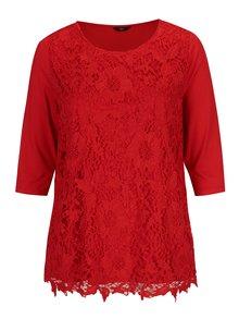 Bluza rosie cu dantela si maneci 3/4 M&Co