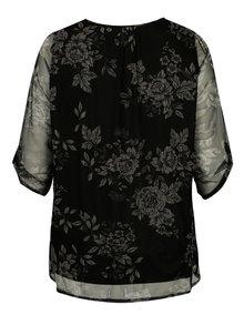 Bluza neagra cu print floral si maneci transparente M&Co
