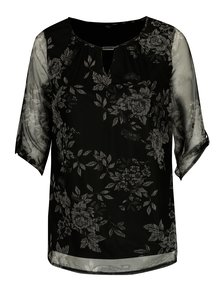 Černá kvetovaná blúzka s priesvitnými rukávmi M&Co