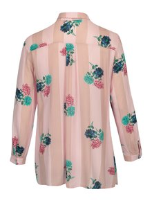 Camasa roz cu print floral&dungi Ulla Popken