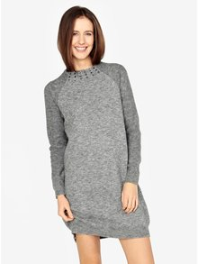Šedé žíhané svetrové šaty s dlouhým rukávem s.Oliver