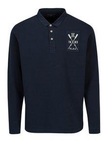 Tmavě modré polo tričko s dlouhým rukávem Hackett London
