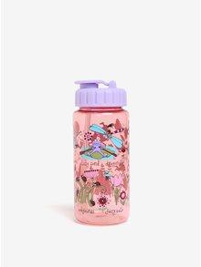 Fialovo-růžová holčičí láhev s potiskem Tyrrell Katz Secret garden