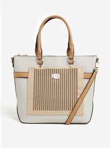 Béžovo-krémová kabelka s koženkovou aplikáciou Bessie London