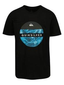 Modro-černé pánské  regular fit tričko s potiskem Quiksilver