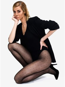 Černé puntíkované punčochové kalhoty Andrea Bucci Polka Dot