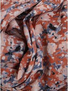 Esarfa albastru & caramiziu cu print - Pieces Minna