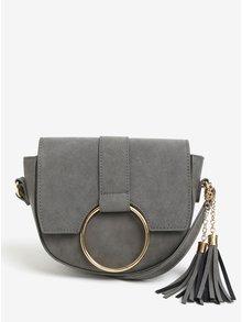 Sivá crossbody kabelka s detailmi v zlatej farbe VERO MODA Rina
