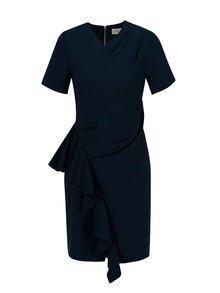 Tmavomodré puzdrové šaty s volánom Closet