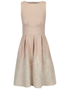 Svetloružové šaty s okrúhlou vzorovanou sukňou Closet
