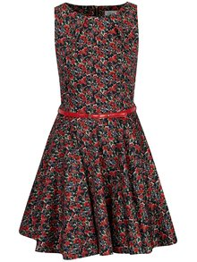 Červené květované šaty s páskem Closet