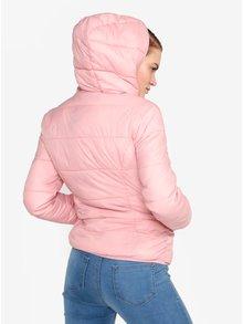 Svetloružová prešívaná bunda s kapucňou Miss Selfridge
