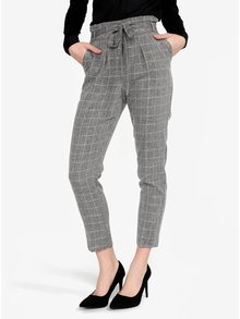 Sivé kockované skrátené nohavice Miss Selfridge