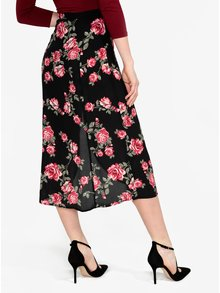 Čierna kvetovaná priesvitná sukňa s rozparkom Miss Selfridge