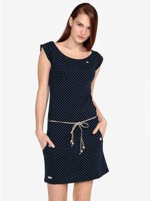 Tmavomodré bodkované šaty s opaskom Ragwear Tag Dots