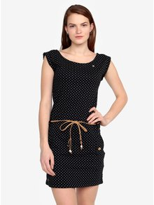 Čierne bodkované šaty s opaskom Ragwear Tag Dots