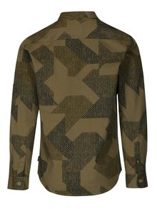 Kaki vzorovaná regular košeľa s vreckami ONLY & SONS Tank