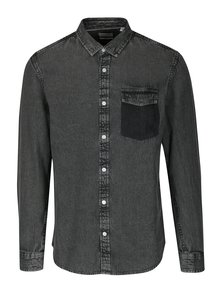 Camasa regular fit gri inchis melanj din denim ONLY & SONS Neville