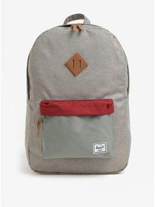 Červeno-šedý vzorovaný batoh Herschel Heritage 21,5 l