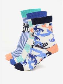 Súprava troch párov chlapčenských ponožiek s motívom kraba Tom Joule Brilliant