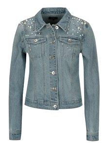 Jacheta crop din denim cu perle ONLY Chris