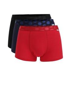 Súprava troch pánskych boxeriek v modrej, červenej a čiernej farbe Happy Sock Solid