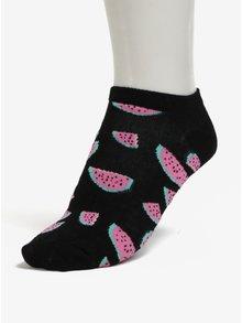 Čierne dámske členkové ponožky s potlačou melónov Happy Socks Watermelon