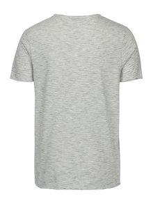 Krémové pruhované tričko Selected Homme Newmerce