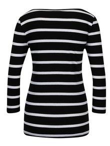 Bílo-černé pruhované tričko s 3/4 rukávem VILA Striped