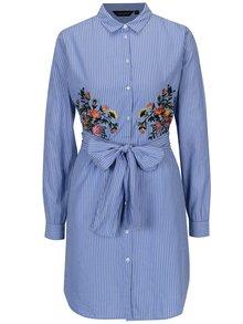 Modré pruhované košeľové šaty s výšivkami Dorothy Perkins