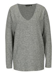 Sivý melírovaný sveter s véčkovým výstrihom Dorothy Perkins Tall