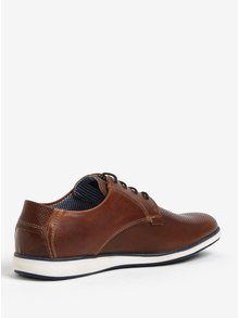 Pantofi maro din piele cu model perforat pentru barbati Dune London Balthazar