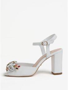 Biele kožené sandáliky na podpätku Dune London Mackaya