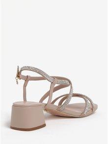 Starorůžové kožené páskové sandálky s kamínky Dune London Masiey