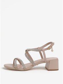 Staroružové kožené remienkové sandáliky s kamienkami Dune London Masiey