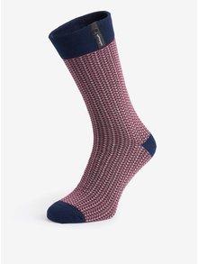 Modro-vínovej pánske vzorované ponožky V páru