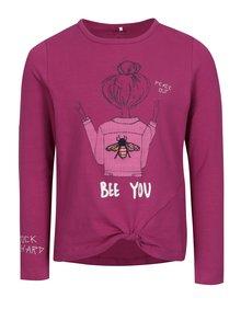 Tmavoružové dievčenské tričko s potlačou name it Hally