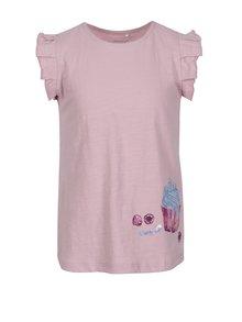 Ružové dievčenské tričko s volánmi a flitrami name it Haylow