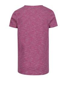 Tmavoružové dievčenské pruhované tričko s potlačou name it Hearty