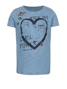 Svetlomodré pruhované dievčenské tričko s potlačou name it Hearty