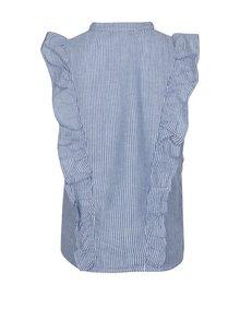 Bílo-modrá holčičí lněná pruhovaná košile bez rukávů name it Dana