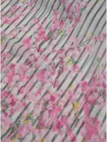Zeleno-biela dámska šatka so vzorom pruhov a kvetín Tom Joule