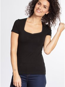 Tricou negru cu decolteu sweetheart - Blutsgeschwister