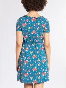 Rochie albastra cu guler si print floral Blutsgeschwister