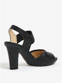 Černé dámské kožené sandálky na podpatku Geox Jadalis