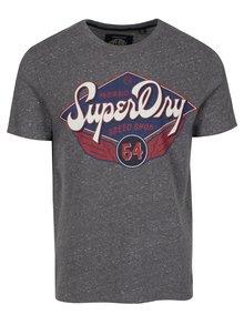 Sivé melírované tričko s potlačou Superdry Real