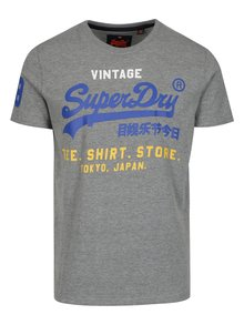 Sivé melírované tričko s potlačou a krátkym rukávom Superdry
