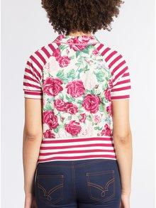 Krémovo-ružové tričko so vzorom pruhov a kvetov Blutsgeschwister