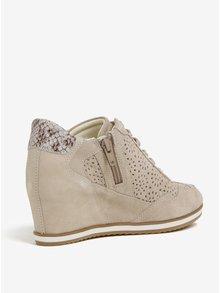 Pantofi sport bej din piele cu perforatii si talpa wedge Geox Illusion